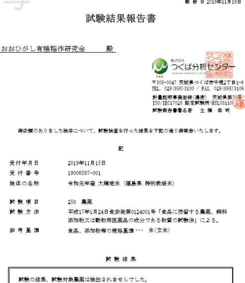 大輝地米 残留農薬検査結果