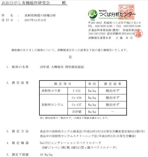 大輝地米 放射性物質検査結果